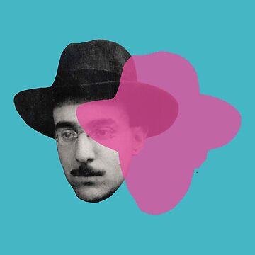 Fernando Pessoa portrait - blue pink pop by savantdesigns