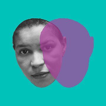 Ntozake Shange portrait - teal blue purple pop by savantdesigns
