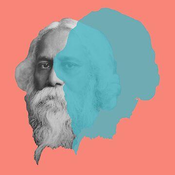 Rabindranath Tagore portrait - orange blue teal pop by savantdesigns