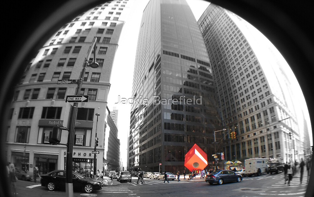 Red Cube in New York by Jackie Barefield