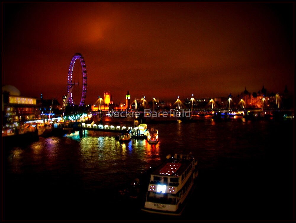 Orange sky over the River Thames by Jackie Barefield