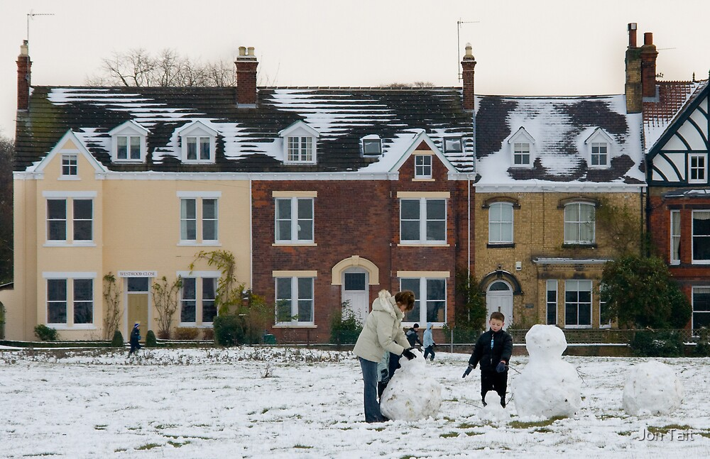 Building a snowman by Jon Tait