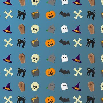 Halloween Pattern Graphic Shirt Pumpkin Skull Witch by Maindy
