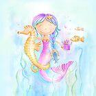 Whimsical mermaid and seahorse watercolor art  by Sarah Trett