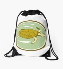 Sea Turtle Swimming Circle Cartoon Drawstring Bag