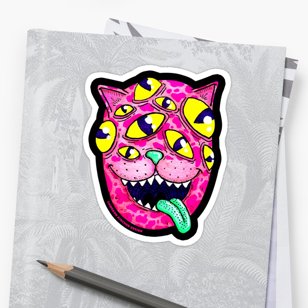 Multi-Eyed Space Kitty Overlord Sticker