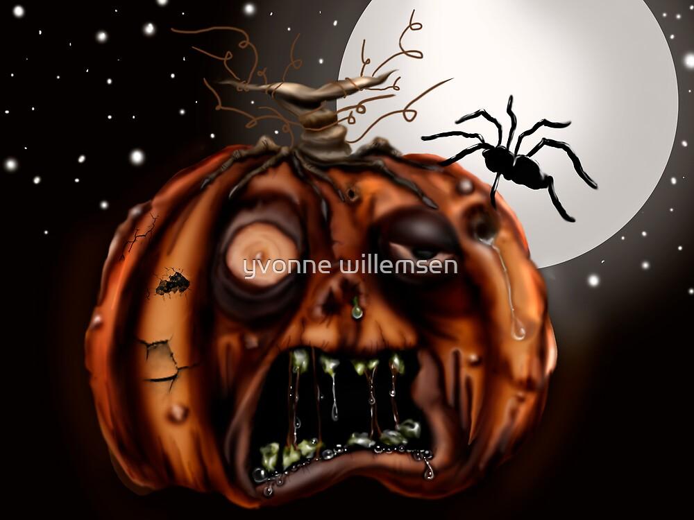 halloween porch dwelling zombie pumpkin by yvonne willemsen