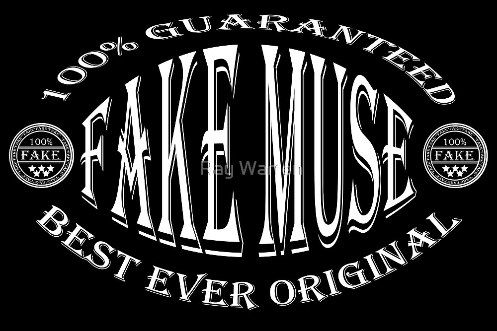 Fake Muse badge (white on black) by Ray Warren