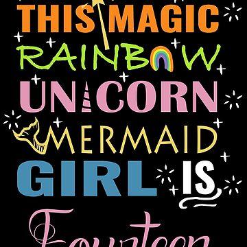 Mermaid Unicorn Birthday 14 Girls Shirt by NoriTEEs