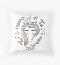 Indie Unicorn Cute Illustration Drawing Dream Throw Pillow