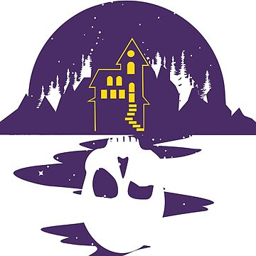 Villa house halloween skull skull mountain moon ghosts lake reflection moon by MyShirt24
