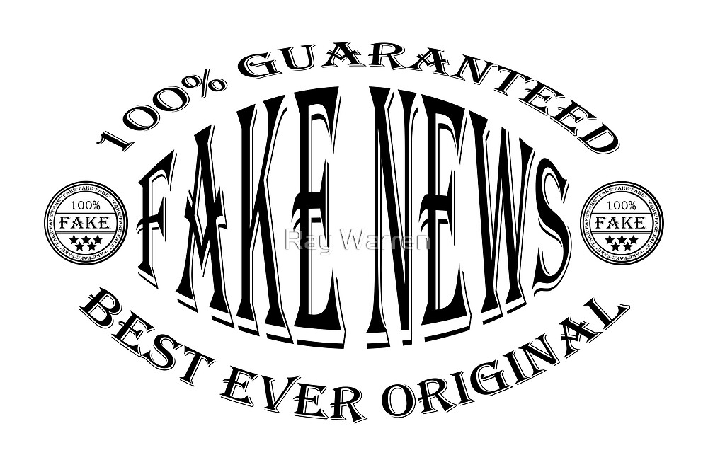 Fake News badge (black on white) by Ray Warren