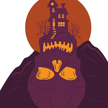 Villa House Halloween Skull Skull Mountain Moon by MyShirt24