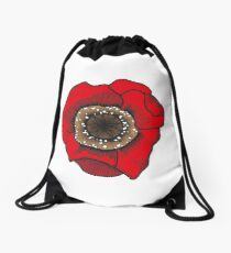 Red poppy design Drawstring Bag