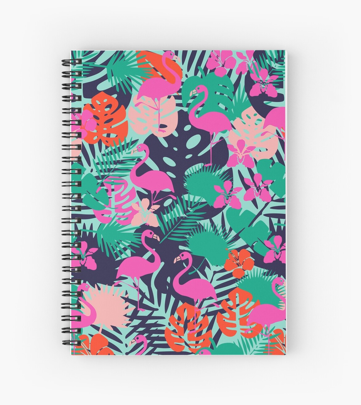 Pink Flamingo with Tropical Leaves by kapotka