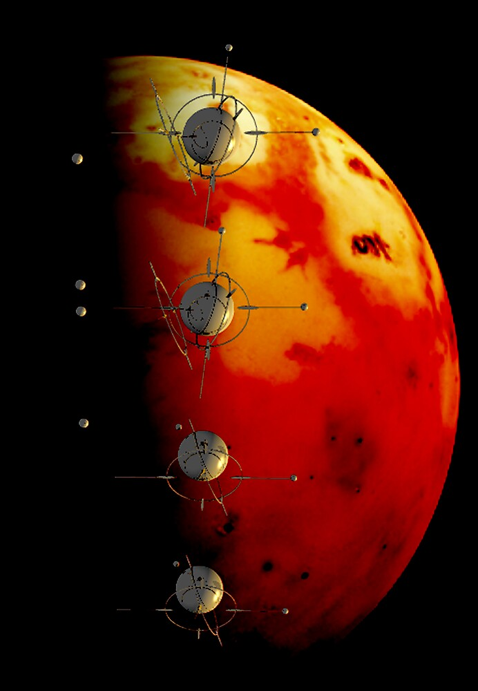 Satellites Around The Red Planet by robertemerald
