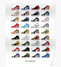 Jordan 1 OG Sneaker Colorways Sneakerheads Poster