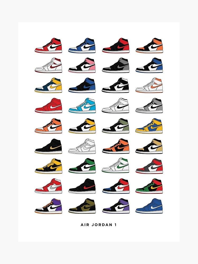 on sale 2f69f 03d36 Jordan 1 OG Sneaker Colorways Sneakerheads Photographic Print