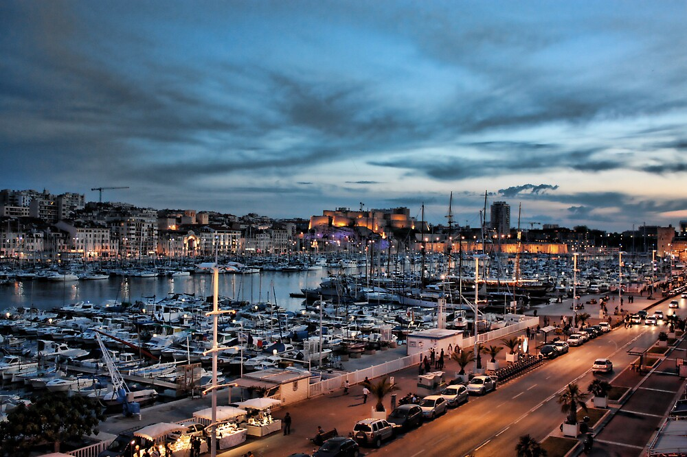 Marseille at night by Michael Tuni