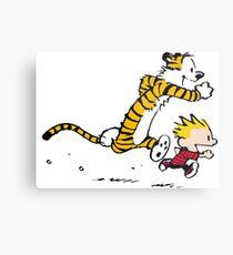 Calvin and Hobbes Run Metal Print
