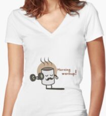 Morning Warmup! Women's Fitted V-Neck T-Shirt