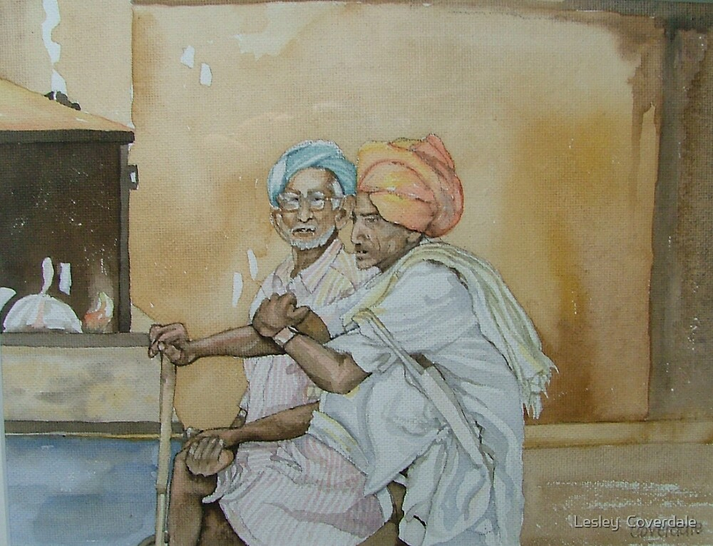 Two old men, Siwai Madopur, India  $230 AUD by Lesley  Coverdale