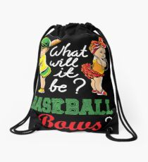Cute baseball or bows gender reveal shirt Drawstring Bag