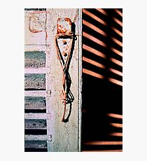 Hanging rope, old shutter and shadows Photographic Print