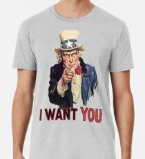 UNCLE SAM, Americana, America, I Want You! Uncle Sam Wants You. Recruitment Poster, USA, Premium T-Shirt