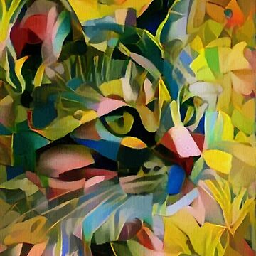 My cat is vegan - Leah rock paintings - cat, cat, gato by LEAROCHE