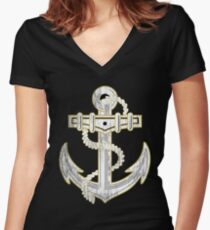 Vintage GOLD Anchor  Women's Fitted V-Neck T-Shirt
