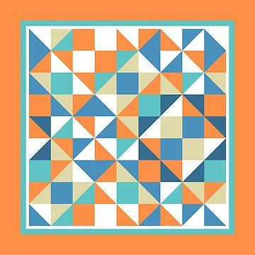 Abstract Multicolor Geo Color Block Pattern with Border-in Orange/Turq/Blue by IcArtsyOrigin8