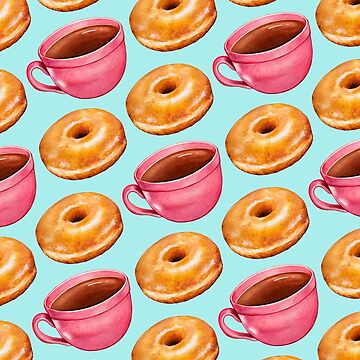 Coffee & Glazed Donuts Pattern - Blue by KellyGilleran
