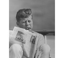 JFK Relaxing Outside Photographic Print