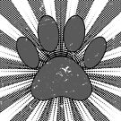 Distressed Dog Paw Print Manga Style by Almdrs