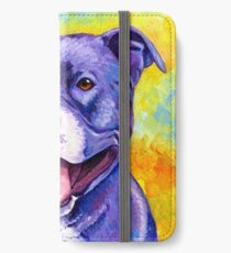 Colorful American Pitbull Terrier Dog iPhone Wallet/Case/Skin