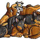 Sleeping pile of Lancashire Heeler dogs by animalartbyjess