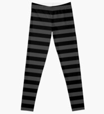 Shadow Grey and Black Horizontal Witch Stripes Leggings