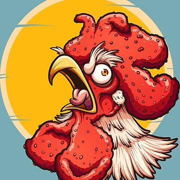 Crowing rooster by memoangeles