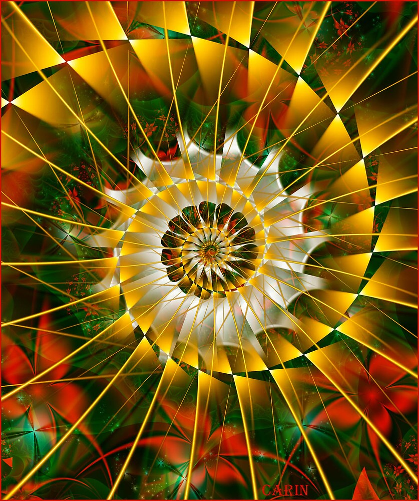 Christmas spiral and flowers by FractaliaNo1