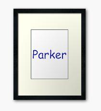 Parker - Blue Letters Framed Print