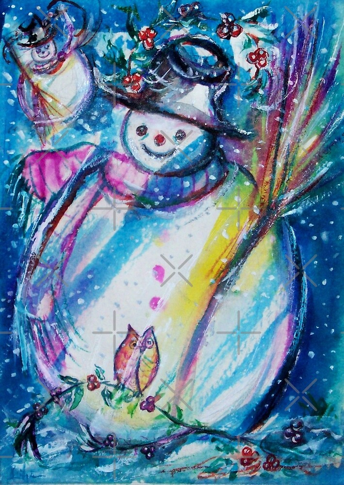 Snowman With Owl In Winter by BulganLumini