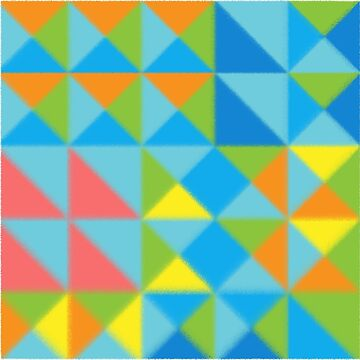 Abstract Multicolor Geo Color Block Pattern with Border-Pastel Effect in Rose/Blue/Green by IcArtsyOrigin8
