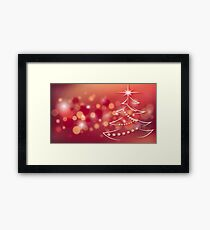 Fir tree on a red background Framed Print