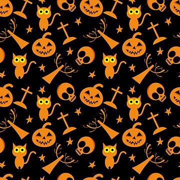 Halloween Symbols - Cat, Skull, Pumpkin by pugmom4