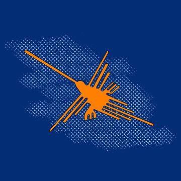 Nazca Lines Hummingbird On Grunge Blue Sky by Almdrs