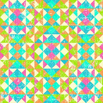 Abstract Multicolor Geo Color Block Pattern-Distressed in Pink/Turq/Lime by IcArtsyOrigin8