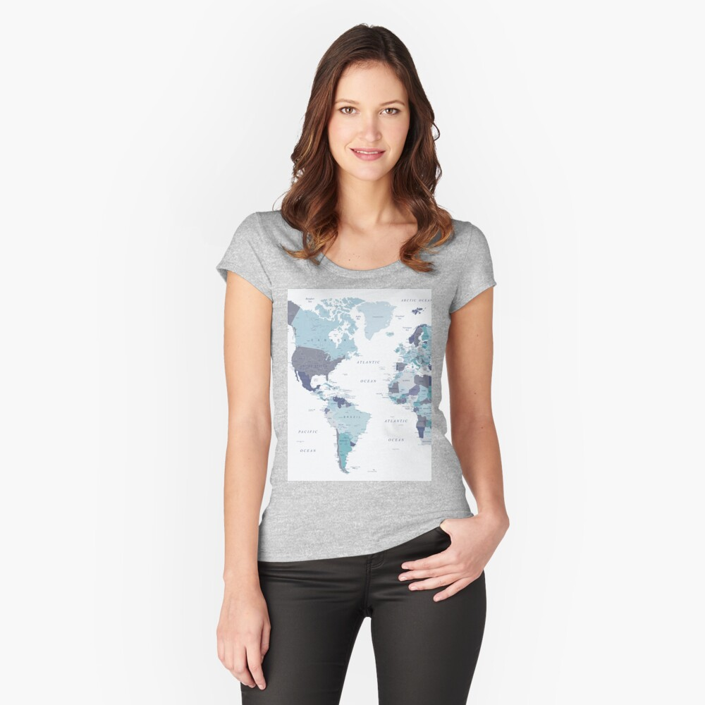 World Map in Blue Fitted Scoop T-Shirt