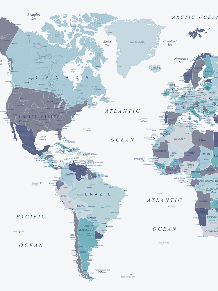 World Map in Blue by UrbanEpiphany