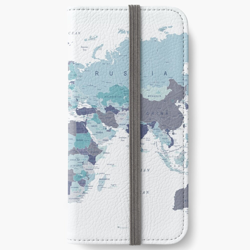 World Map in Blue iPhone Wallet